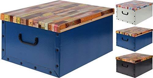 Spetebo 3er Set Aufbewahrungsbox in 3 Farben und Buntem Dekor mit jeweils 45 Liter Inhalt - Deko Box
