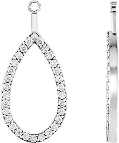 OFFicial 14K White Gold Cheap mail order shopping Teardrop Halo-Style Mounting Jacket Earring Teard