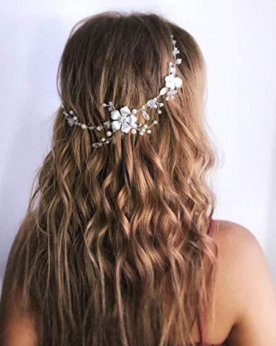 Simsly Bride Blume Brautschmuck Haarband Hochzeit Haarschmuck Kopfschmuck für Frauen und Mädchen