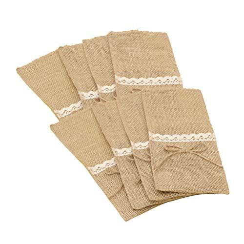 Amosfun Xma yute porta utensilios de encaje plata bolsillos para cubiertos tela vintage yute funda vajilla bolsas para banquetes boda 10 unidades
