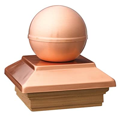 Deckorators Victoria Ball Copper Post Cap with Cedar Base