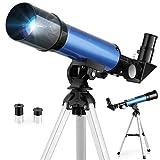 TELMU Telescopio Astronomico - Calibro 50 mm, Lunghezza focale di 360 mm, Telescopio per Principiante, con Specchio Diagonale a 45 ° a Correggere Immagini, Regali Educativi
