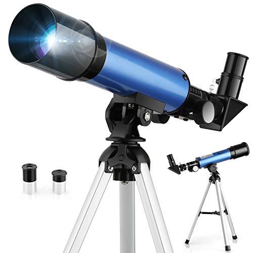 TELMU Télescope Astronomique –- Jauge 50 mm, Longueur Focale de 360 mm. Télescope pour Enfants et Débutants, avec Miroir Diagonal à 45° à Correction des Images –- Cadeau Éducatif pour Enfants