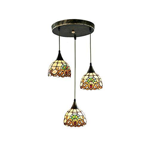 Candelabro Victoriano de 3 Luces Mini Retro Arte clásico Lámpara Colgante Vitral E27 Iluminación Colgante Sala de Estar Comedor Bar Pasillo Sección Redonda de 3 Luces D