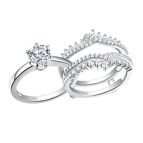 Newshe Wedding Rings for Women Solitaire Engagement Ring Band Set Sterling Silver 1.8Ct Cz Size 7
