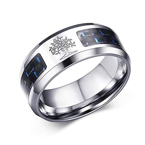 OIDEA Anello Uomo Albero della Vita Fidanzamento Promessa Acciaio Inossidabile Fibra di Carbonio Argento