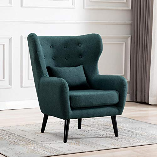 Cosy Chair WINSLOW WING BACK OCCASIONAL BEDROOM LIVING ROOM BUTTON BACK LINEN FABRIC ACCENT CHAR ARMCHAIR