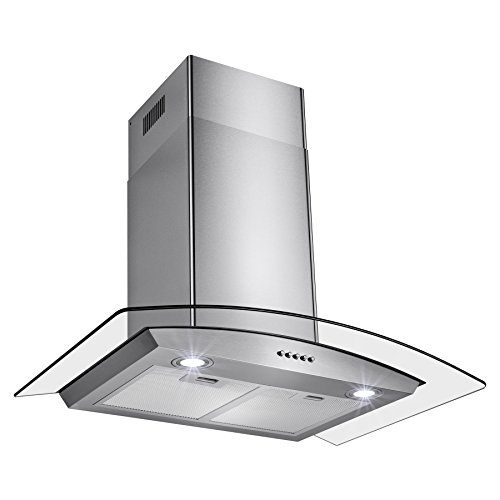 "Perfetto Kitchen and Bath 30"" Convertible Wall Mount Range Hood in Stainless Steel with LEDs, Push Controls & Tempered Glass"