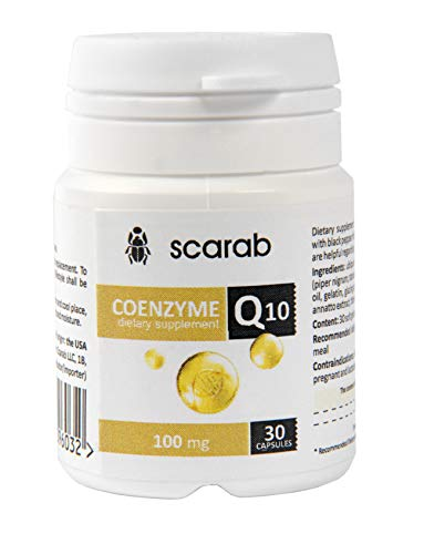 SCARAB CoQ10 100mg (30 Capsules) Coenzyme Q10 Supplement Antioxidant for Heart, Energy and Cognitive Support, High Absorption Dietary Supplement for Appetite, Better Digest, Body Weight Control