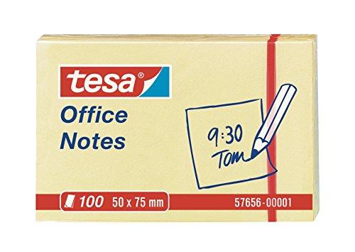 tesa 57656-00001-05 Blocco Note Adesivo Office Notes 50 x 75 mm, Giallo