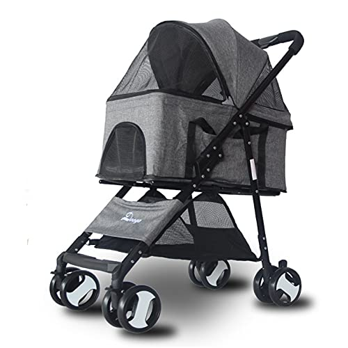 Pet Stroller, Dog Pram Dog Carrier,Detachable, Foldable Four-Wheel Pet Cart, Lightweight Material, Suitable for Small and Medium Pets,B