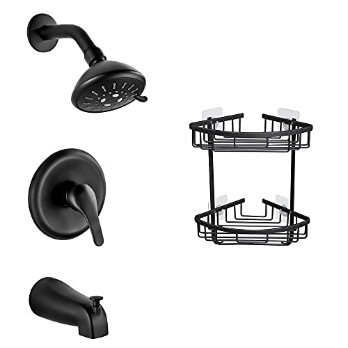Gricol Shower Faucet Set with Tub Spout and Adhesive Corner Shelf