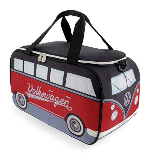 BRISA VW Collection - Volkswagen Bulli Bus T1 Kühltasche 25 Liter (Motiv: Rot/Schwarz)