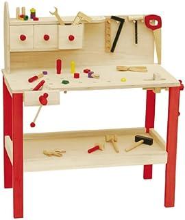 Mesa de trabajo roba, mesa de trabajo grande de madera, mesa de trabajo con gran numero de herramientas, banco de trabajo grande, estante y 3 cajones
