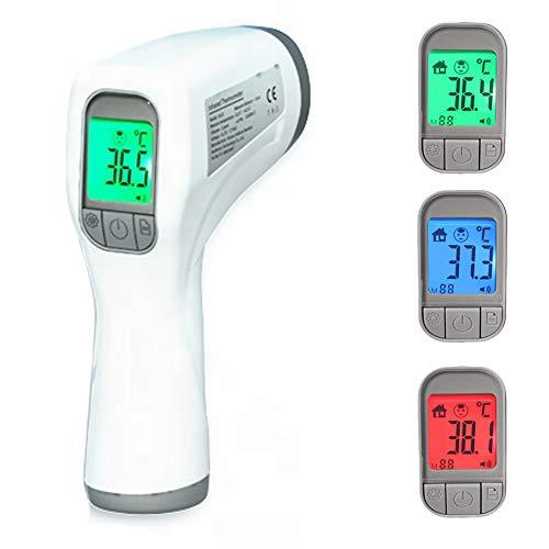 Termometro infrarrojos digital sin contacto. Pistola para frente para bebes y adultos. Medición de temperatura rápida y precisa, alarma de fiebre. Medición alimentos y superficies. Apagado automático.