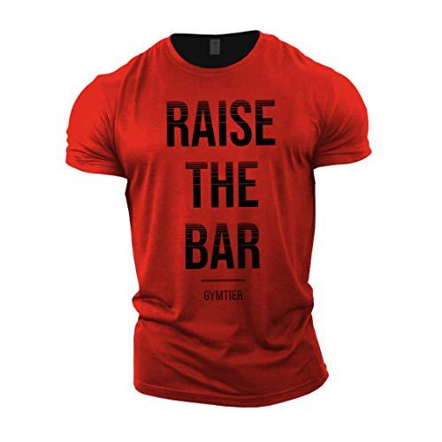 "Gymtier Bodybuilding-T-Shirt für Herren, ""Raise The Bar"", Trainings-Top Gr. L, rot"