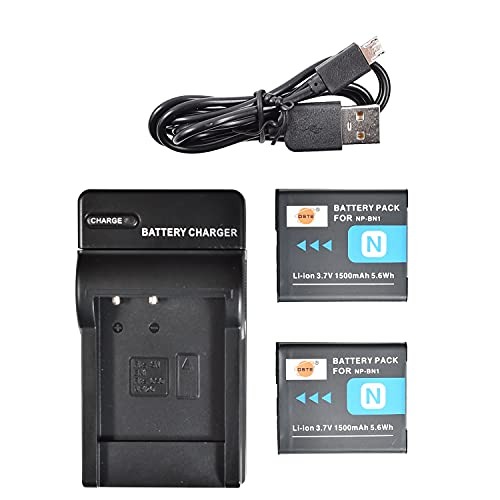 DSTE - Batería de ion de litio NP-BN1 (2 unidades) y cargador micro USB compatible con Sony DSC-W510 DSC-W515PS DSC-W500 DSC-W520 DSC-WX80 DSC-WX150 DSC-QX10 DSC-TX7)