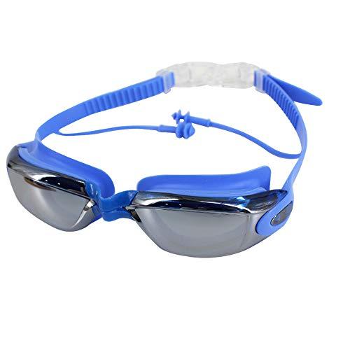 ZLMBAGUS anteojos de natación de ajuste cómodo, sin fugas, con protección UV y tecnología antivaho para hombres, mujeres, jóvenes, niños + funda de gafas de natación, Talla única, X-azul