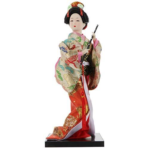 VOSAREA Japanische Art Geisha Puppe Asiatische Kimono Puppe Sammelfigur Figurdekoration Geschenk für Japanische Stil Dekor