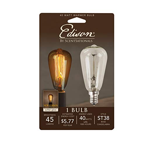 Scentsationals 40w Bulb for Edison Wax Warmer - 40 Watt Light Bulb Candelabra E12 Base - Retro Vintage Replacement Electric Plug-in Wax Melter, Certified Style ST38 120 Volt (1 Pack)