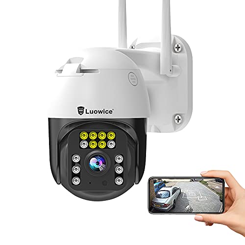 Luowice PTZ Security Camera Outdoor 5MP FHD Wireless IP Camera with Human Detection, Auto Tracking, Color Night Vision, Pan and Tilt, Two Way Talk, Floodlight and Siren, Waterproof