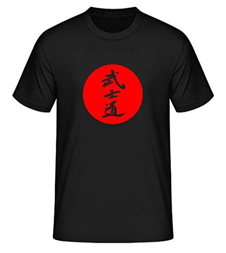 S.B.J - Sportland schweres Qualitäts Bushido T-Shirt mit Motiv/Schriftzeichen/Kanji Bushido in japanischer Sonne, Farbe schwarz, Gr. M