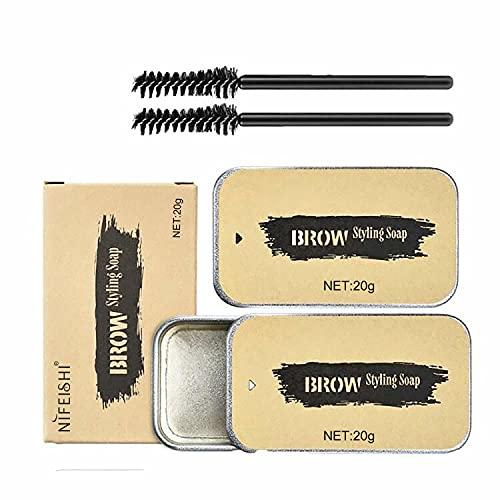 2 Piezas Jabón para Cejas, Eyebrow Soap Kit, Gel para Jabones de Cejas en 3D Crema, con Cepillo Jabón para dar Forma a Las Cejas,Impermeable de Larga Duración