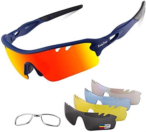 Gafas deportivas polarizadas, gafas de sol deportivas al aire libre, gafas de ciclismo, equipadas con 4 juegos de lentes reemplazables para ciclismo, correr, conducir, deportes de pelota, golf y pesca