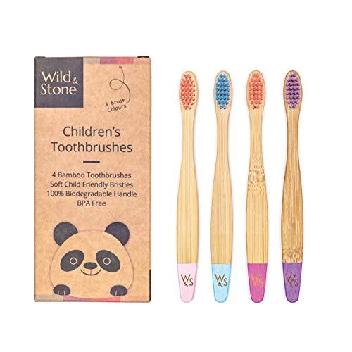 Wild & Stone | Bio-Bambus Kinderzahnbürste | Vier Bonbon Farben | Weiche Faserborsten | 100% biologisch abbaubarer Griff | Vegane umweltfreundliche Kinderzahnbürsten