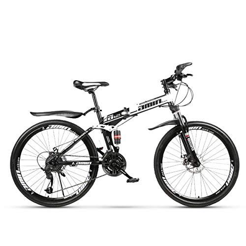 QXue 24 Inches Mountain Bike for Men and Women, High Carbon Steel Dual Suspension Frame Mountain Bike, Variable Speed Spoke Wheel Folding Outroad Bike,White,27 Speed