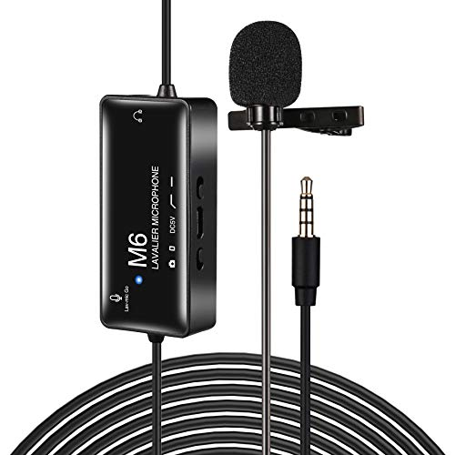 Lavalier Microphone,Professional Lavalier Lapel Microphone Omnidirectional Lav Mic for Phone/Camera/YouTube/Interview/Vlog