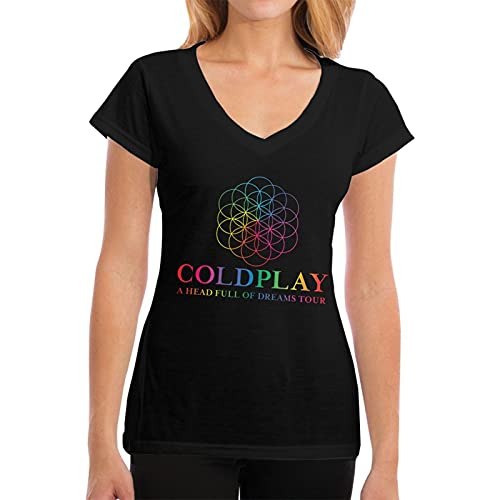 QDGERWGY Coldplay A Head Full of Dreams Tour Damen Fashion Supersoft V-Neck T-Shirt, Schwarz , X-Large