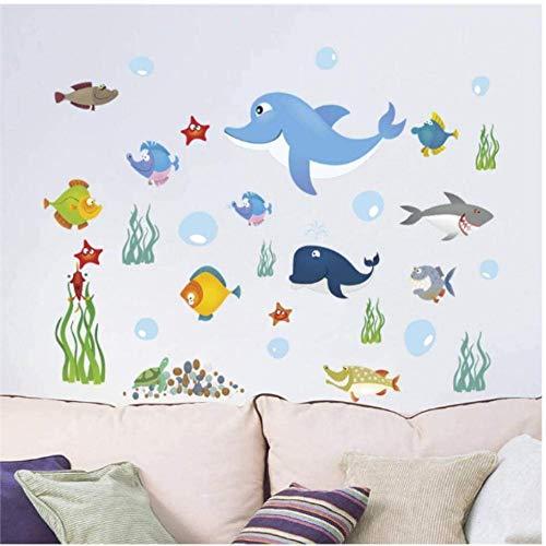 Pegatinas de pared Colorido submarino peces de mar burbuja pegatinas de pared dormitorio decoración del hogar animales de dibujos animados tatuajes de pared cartel de bricolaje pvc arte 60 * 90cm