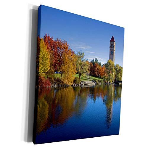 3dRose Danita Delimont - Charles Gurche - Rivers - USA, Washington, Spokane, Riverfront Park, Spokane River, Clock Tower - Museum Grade Canvas Wrap (cw_189847_1)