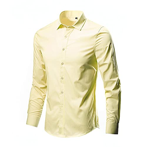 BingThL Camisa para hombre, clásica, antiarrugas, monocolor, vertical, manga larga, camisas de negocios, a rayas, clásicas, informales, verticales, ajustadas, de manga larga, amarillo, XXL