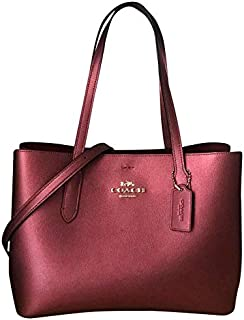 Coach Women's Avenue Carryall Tote Bag, Leather - Metallic wine
