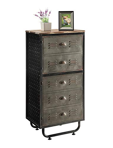 4D Concepts Industrial BOOKCASE, Natural distressed wood/Black/Grey