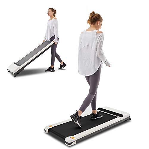 UMAY LONTEK Walking Pad Laufband Tragbare Platzsparende Laufmaschine, Leiser und Starker Motor, Schreibtisch Laufband mit Fernbedienung, Fittnissgräte mit LED und 12 Programme bis zu 6 km/h, Weiß