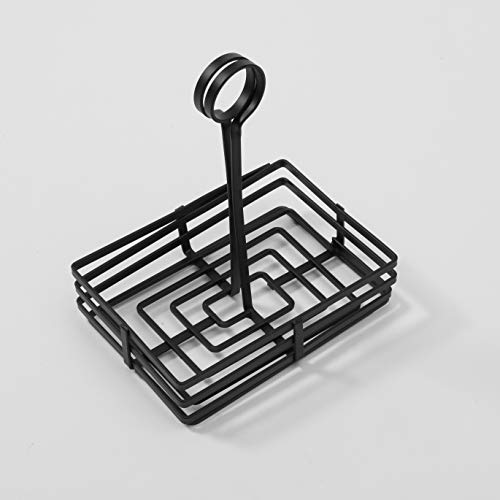 American Metalcraft FWC68 Rectangular Wrought Iron Condiment Rack Basket with Display Handle, 6