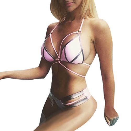 Sexy Bikini Swimsuit Feshion Women Set Solid Color Sport Swimwear Push-Up Padded Swimsuit