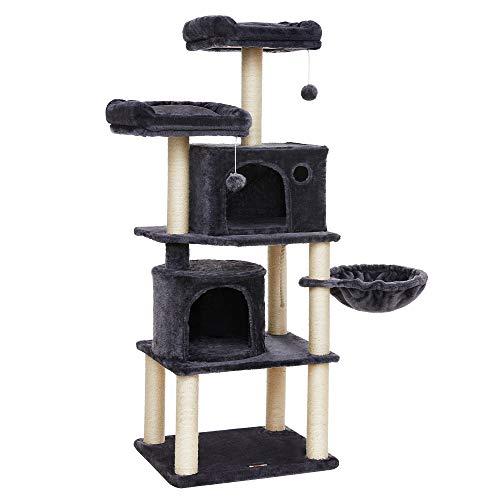FEANDREA Kratzbaum, Stabiler Katzenbaum, mit Sisal-Kratzstangen, Plüsch-Sitzmulden, einem Korb und 2 Häuschen, Kletterbaum für Katzen, PCT90G
