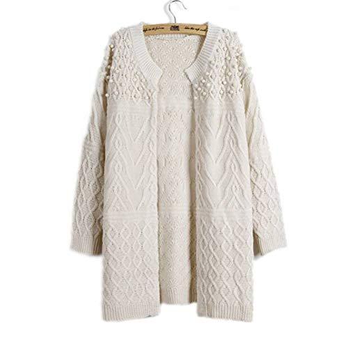 Damestrui en pullover eenkleurig, lang, los gebreide jas, gedraaide parels. Dunne, lange mouwen damesjas JUSTTIME Eén maat off-white
