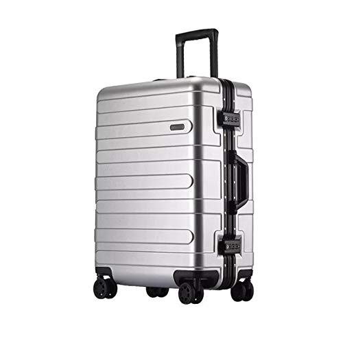 Mdsfe 20'24' 29'inch aluminum frame hard suitcase with wheel abs spinner cabin trolley luggage for traveling - silver, 26'