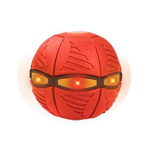 Juguete de bola plana de pelota de platillo volador, juguete de paracaídas de brillo mágico de ufo, pelota de deformación con luz, kid al aire libre Jardín Juegos de playa, UFO Regalos para niños