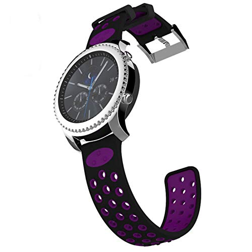 IMPAWFAN 22mm Watch Bands Compatible for Samsung Gear S3 Frontier & Classic, Galaxy Watch 46mm, Silicone Sport Wristband Quick Release Replacement Strap for Smart Watch-Black Purple