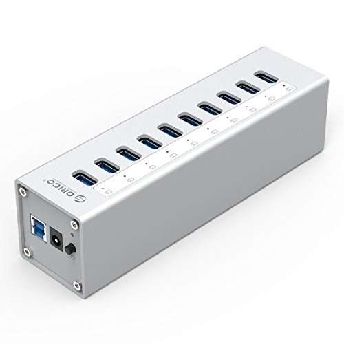 ORICO - Aluminio Concentrador USB 3.0 de 10 Puertos con Alimentación Externo - Plata con LED Indicador y Interruptor - High End, Highspeed para Desktop-PC Computer Notebook MacBook iMac