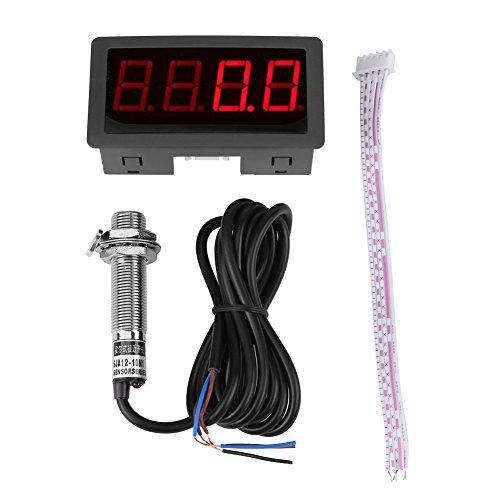 Drehzahlmesser Digital, 4 Digital LED Display Drehzahlmesser RPM Geschwindigkeit Meter Panel Induktive Halleffektsensor NPN Näherungsschalter(Rot)
