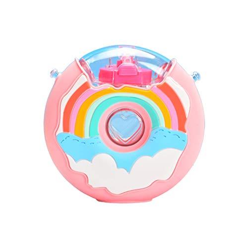 LINONI 380 ml kreative Regenbogen-Donut-Wasserflasche, BPA-frei, Kunststoff-Trinkhalm-Becher, tragbarer Hals-Trageriemen, Wasserkocher mit Silikonhülle, für Kinder, Geburtstag, Weihnachten, Geschenke