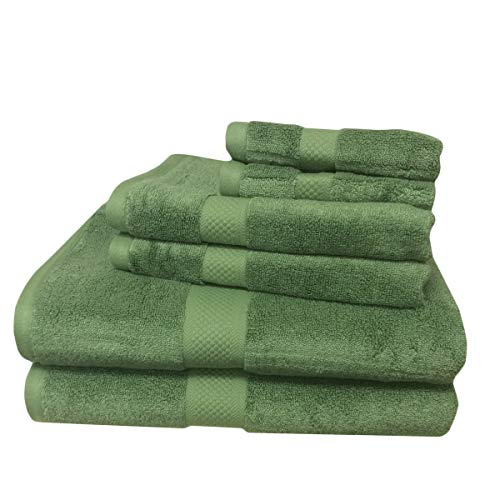 6pc verde mezcla de rayón de bambú toalla Set, incluye 2toallas de ducha, 2toallas de mano, 2lavar ropa