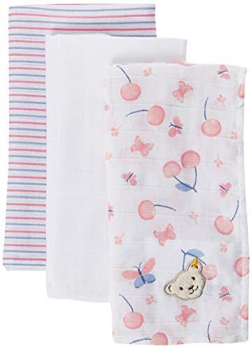 Steiff Baby-Mädchen Mullwindel Halstuch 3er Pack, Rosa (Barely Pink 2560), (Herstellergröße: 999), Onesize